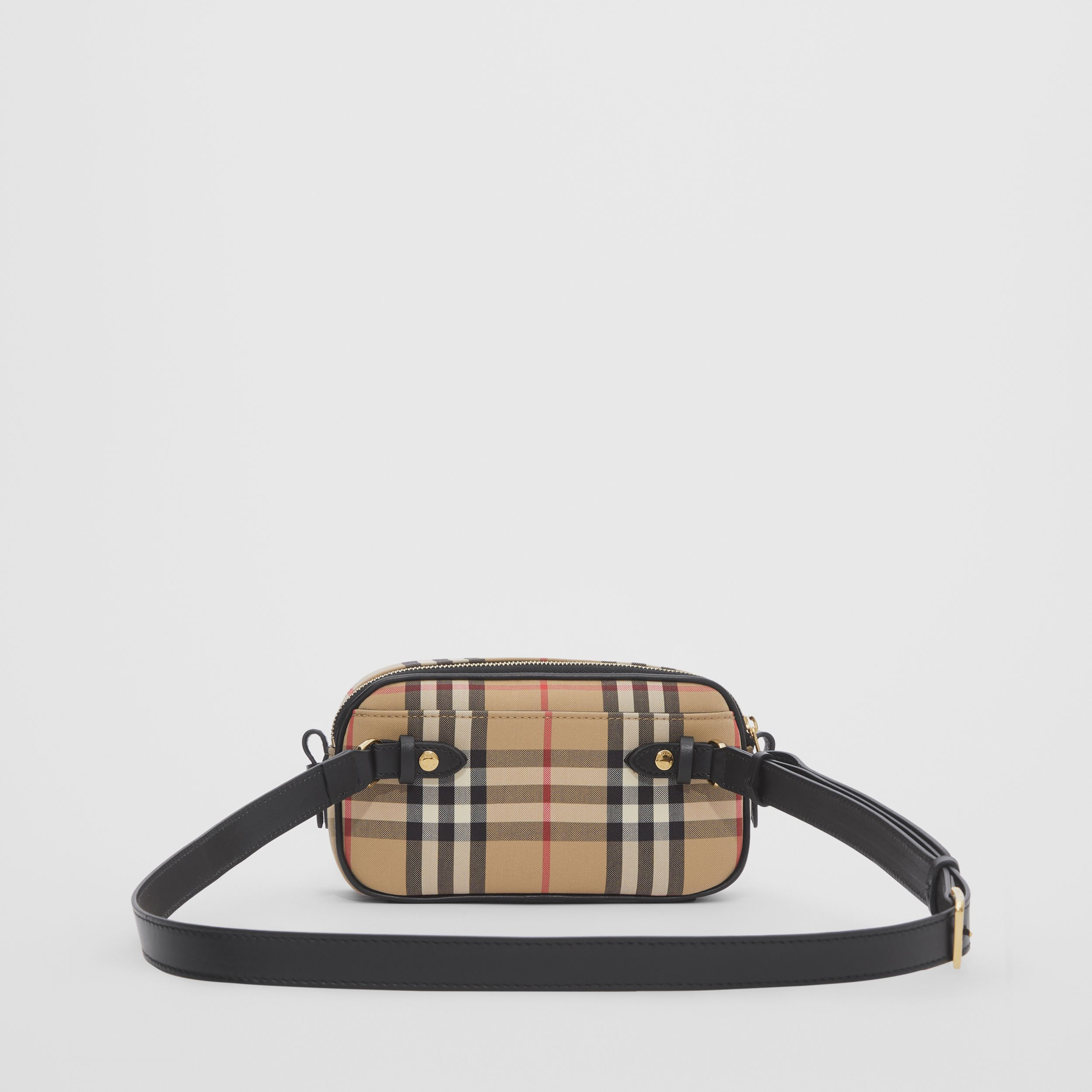Mini Vintage Check and Leather Camera Bag in Archive Beige | Burberry - 4