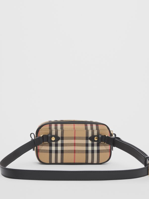 Mini Vintage Check and Leather Camera Bag in Archive Beige | Burberry - cell image 3