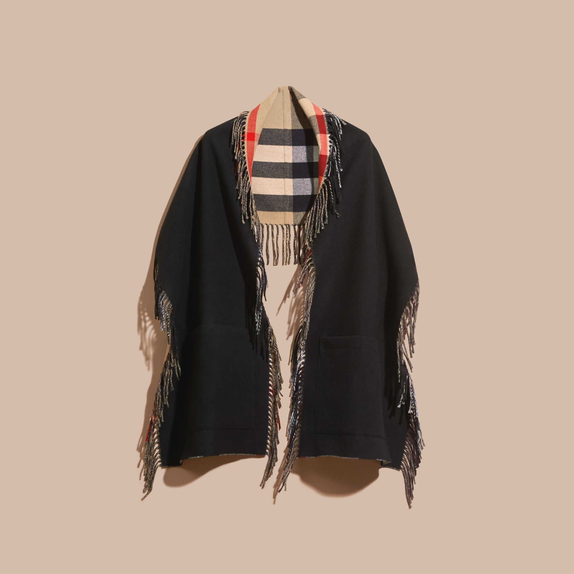 Fringed Cashmere Merino Wool Stole in Camel/black - gallery image 4