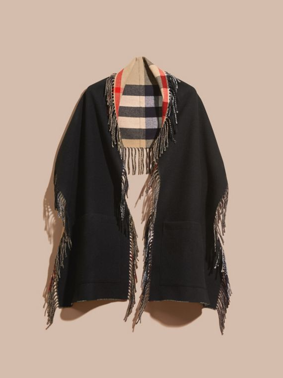 Fringed Cashmere Merino Wool Stole in Camel/black - cell image 3