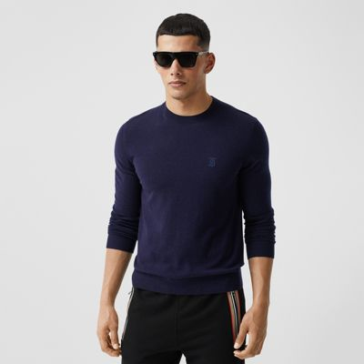 Monogram Motif Cashmere Sweater in Navy Men | Burberry