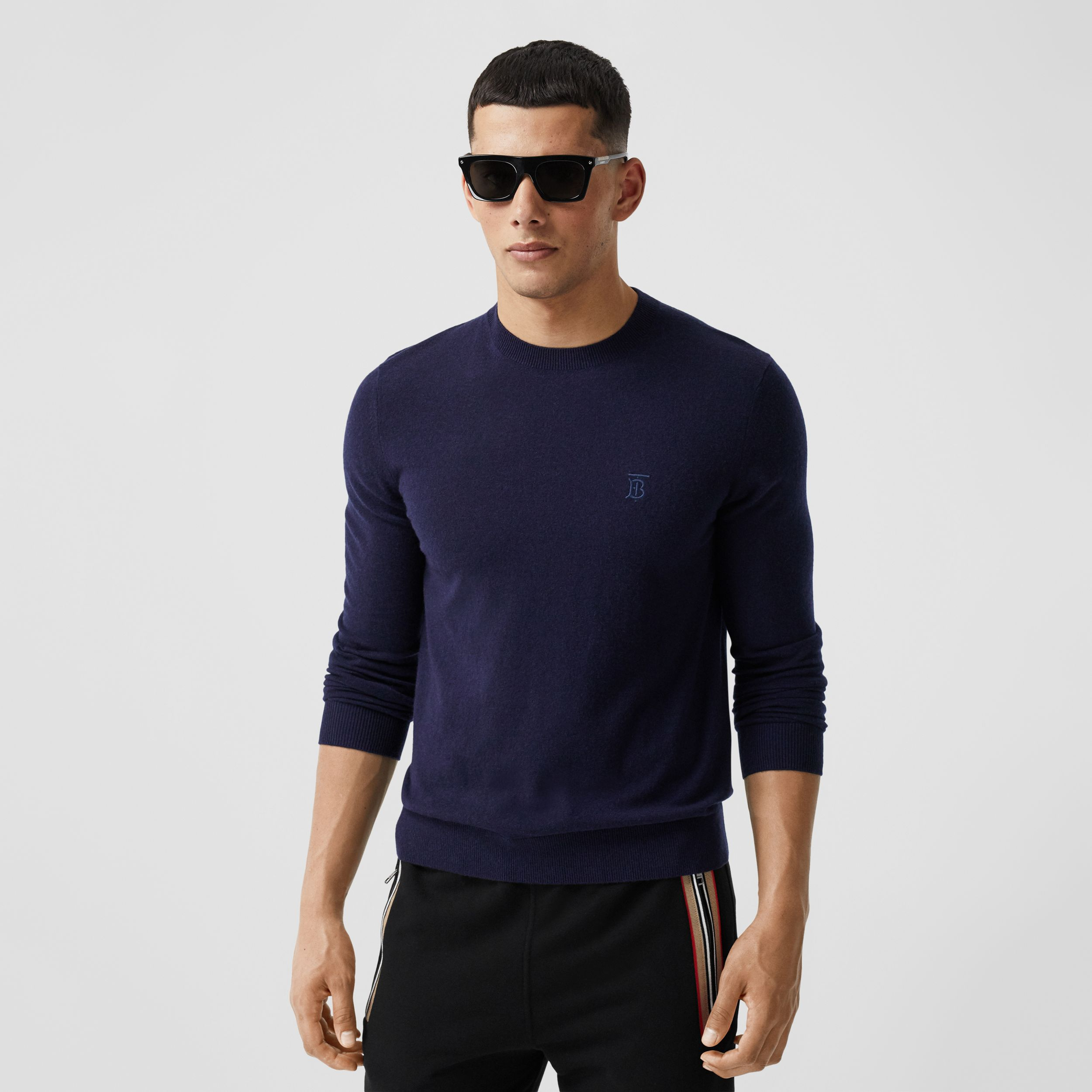 Monogram Motif Cashmere Sweater in Navy - Men | Burberry - 1