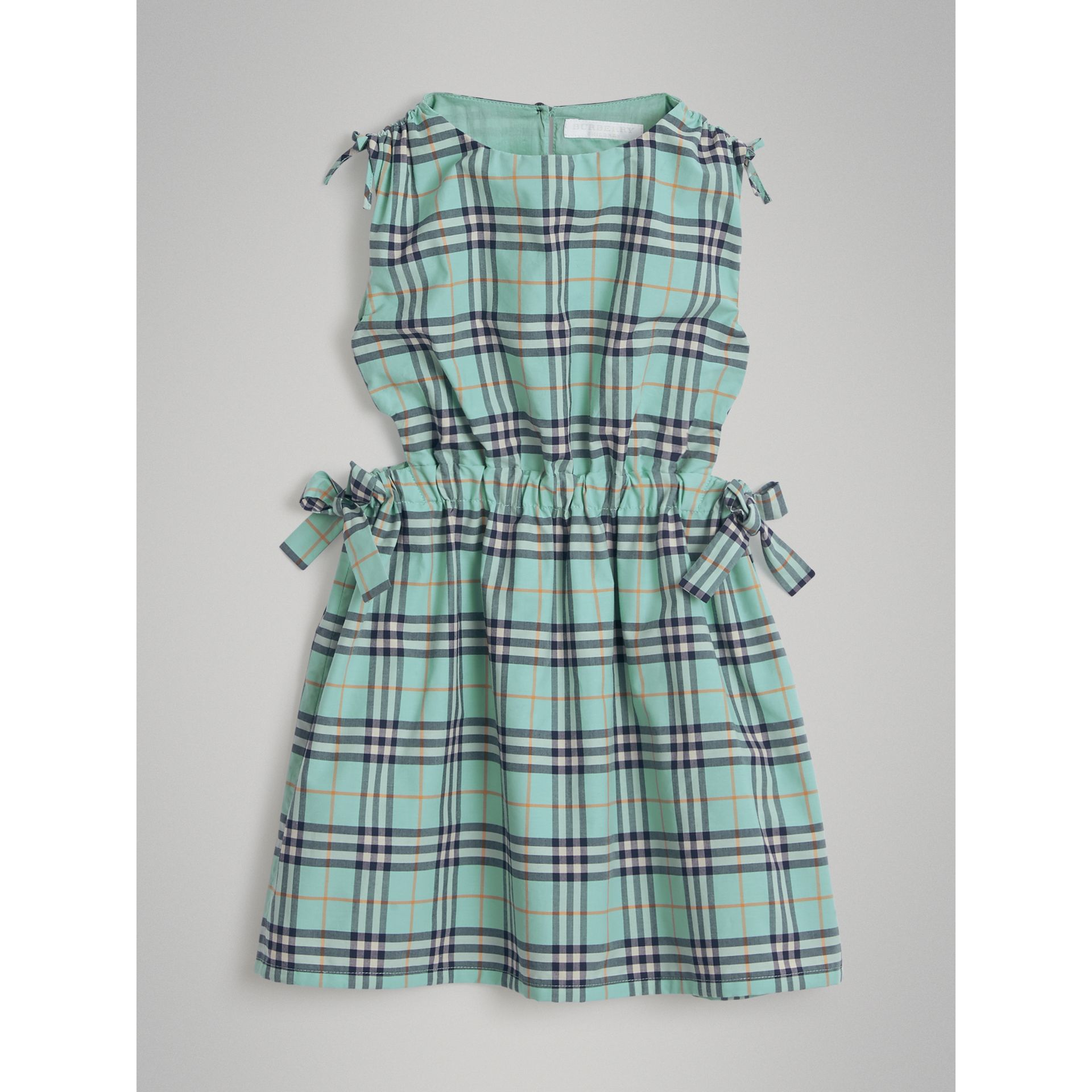 Tie Detail Check Cotton Dress in Bright Aqua | Burberry - gallery image 0