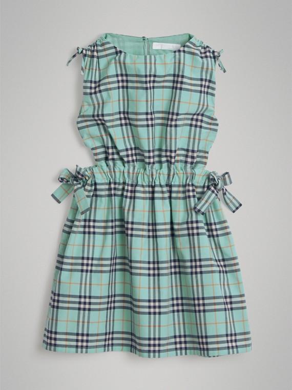 타이 디테일 체크 코튼 드레스 (브라이트 아쿠아)