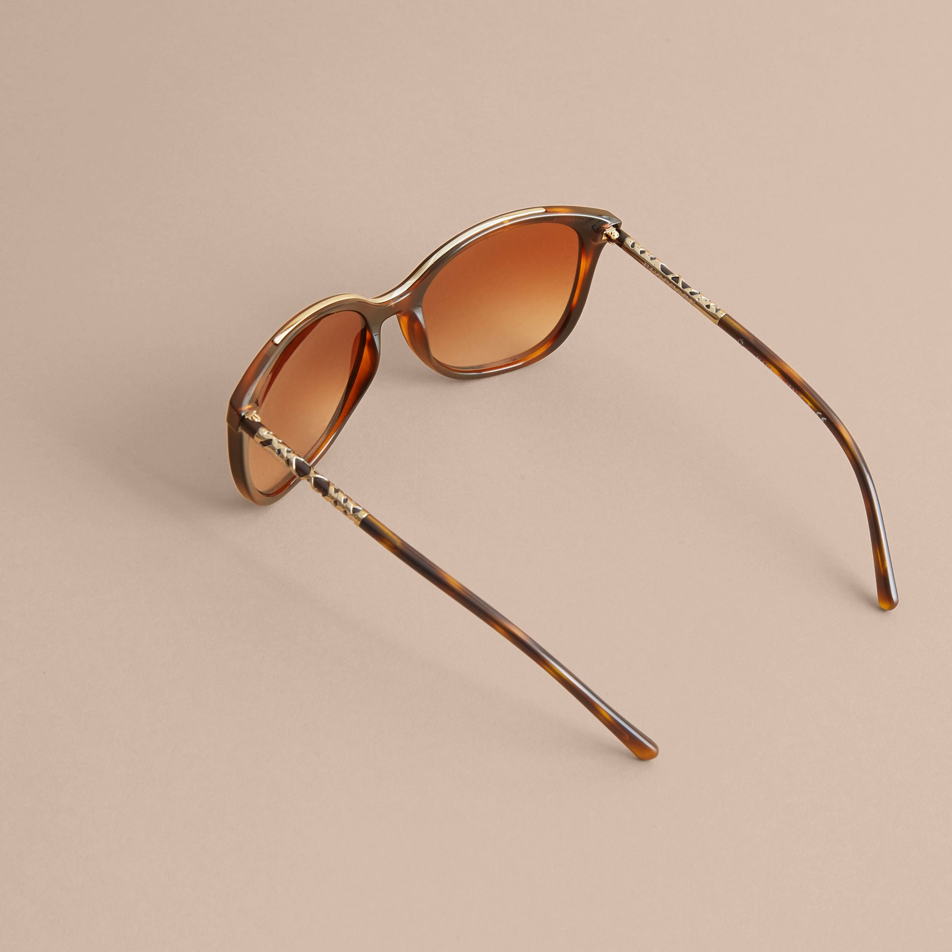 Check Detail Square Frame Sunglasses in Tortoiseshell - Women | Burberry - gallery image 4