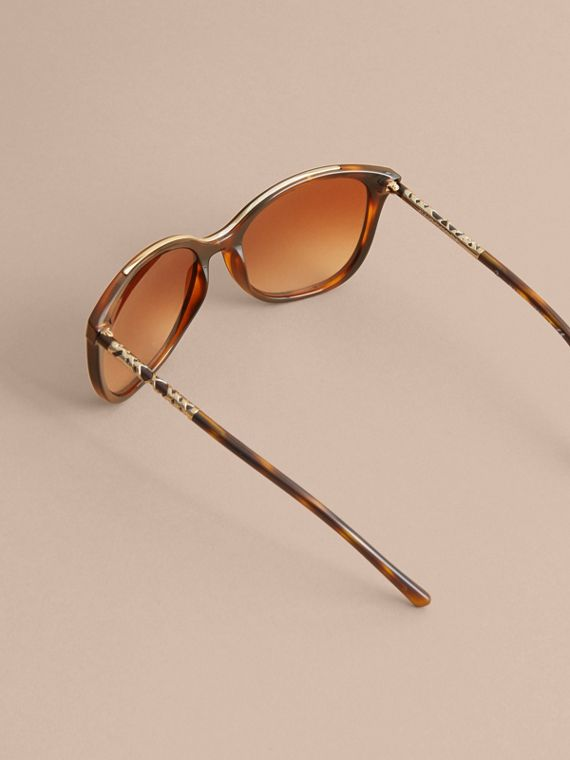 Check Detail Square Frame Sunglasses in Tortoiseshell - Women | Burberry Australia - cell image 3