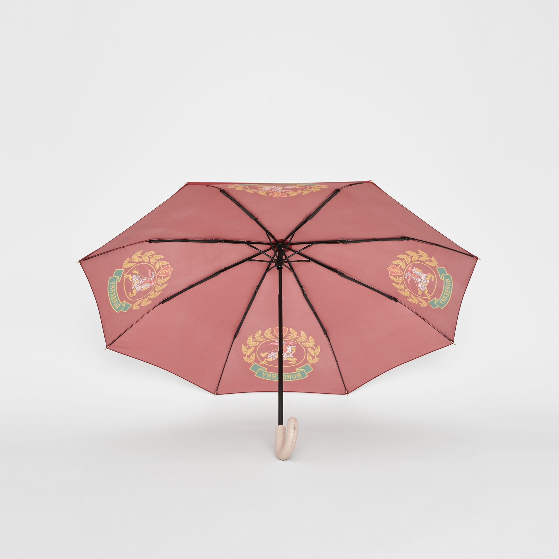 Crest Print Folding Umbrella in Claret | Burberry - gallery image 3