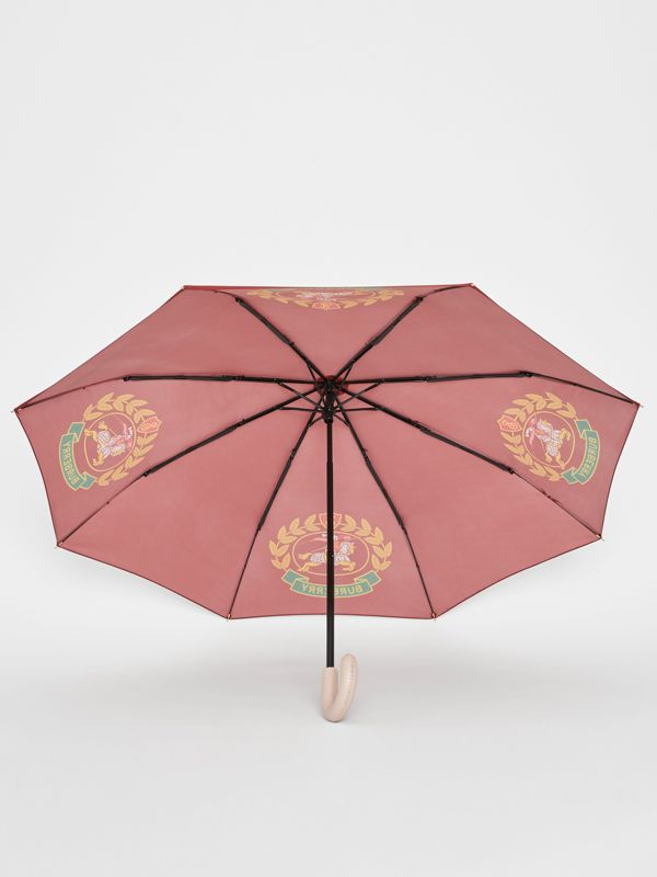 Crest Print Folding Umbrella in Claret | Burberry - cell image 3