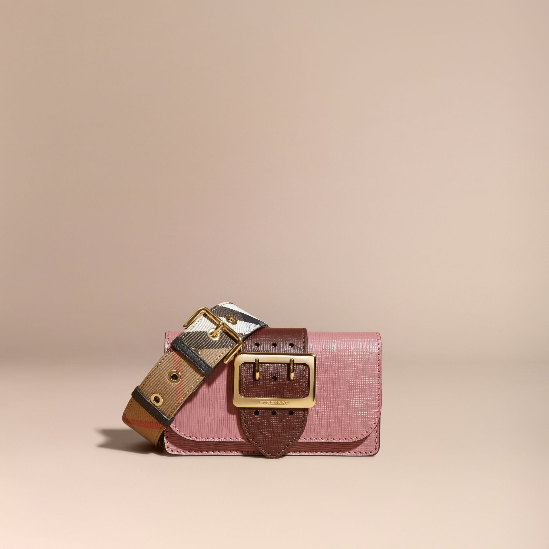 The Small Buckle Bag in Textured Leather Dusky Pink/ Burgundy - gallery image 9