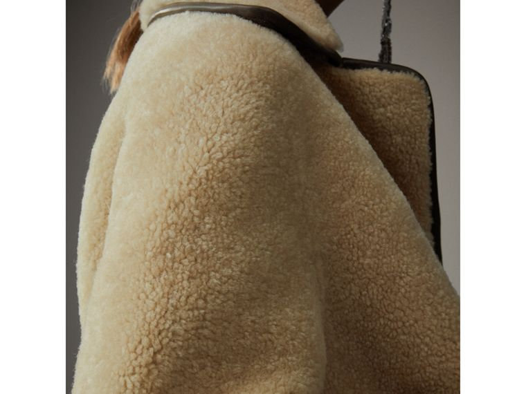 Shearling and Lambskin Jacket in Chocolate/light Citrus - Women | Burberry United Kingdom - cell image 1