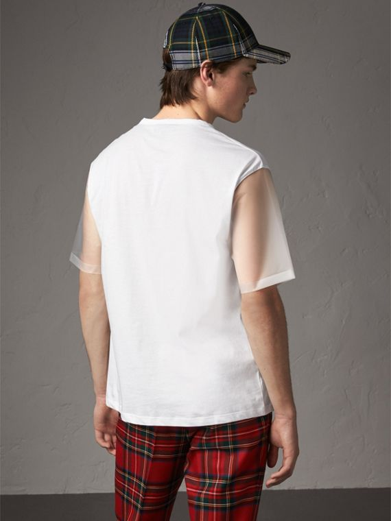 Cotton and Soft-touch Plastic T-shirt in White - Men | Burberry United States - cell image 2