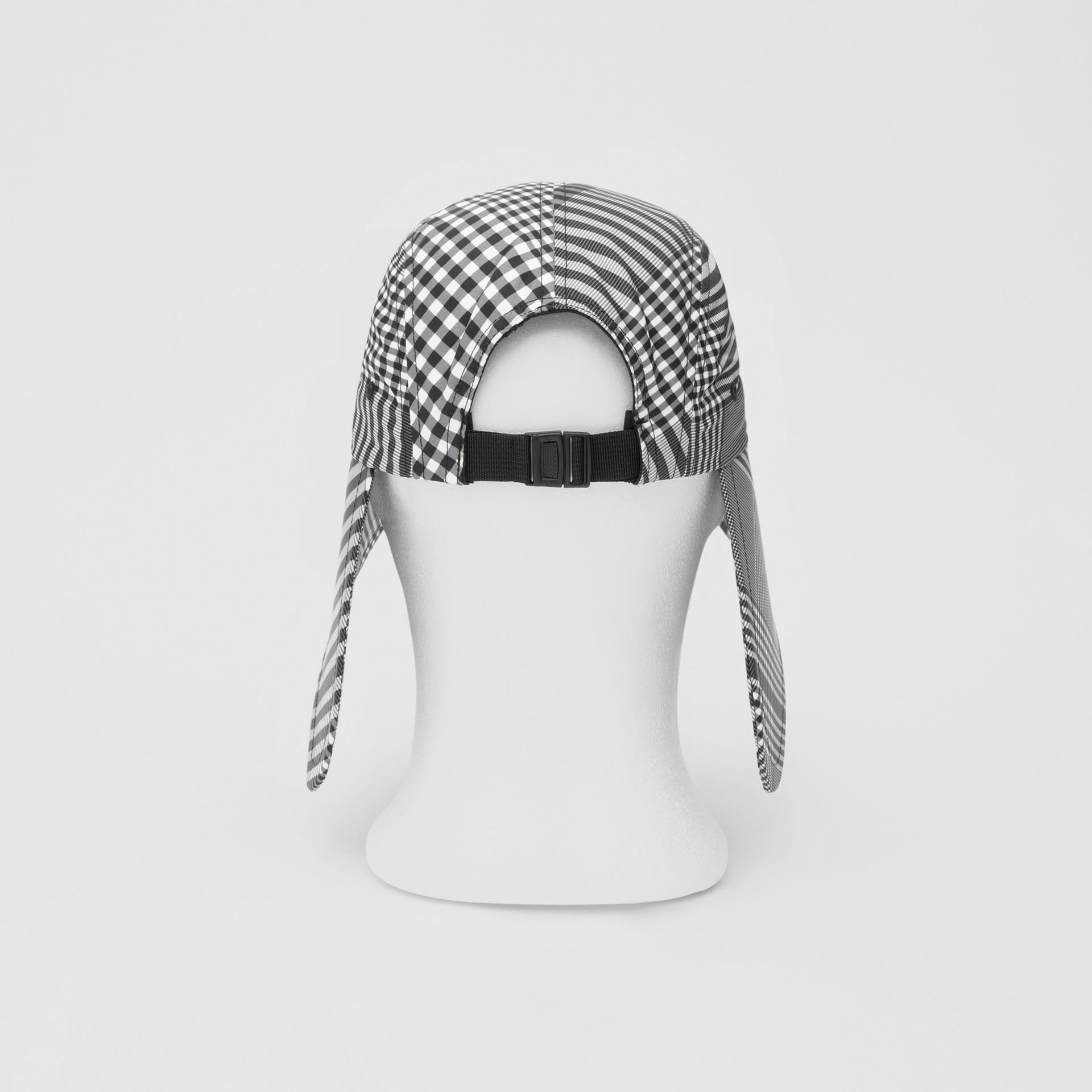 Logo Appliqué Check Bonnet Cap in Black/white | Burberry United Kingdom - gallery image 8