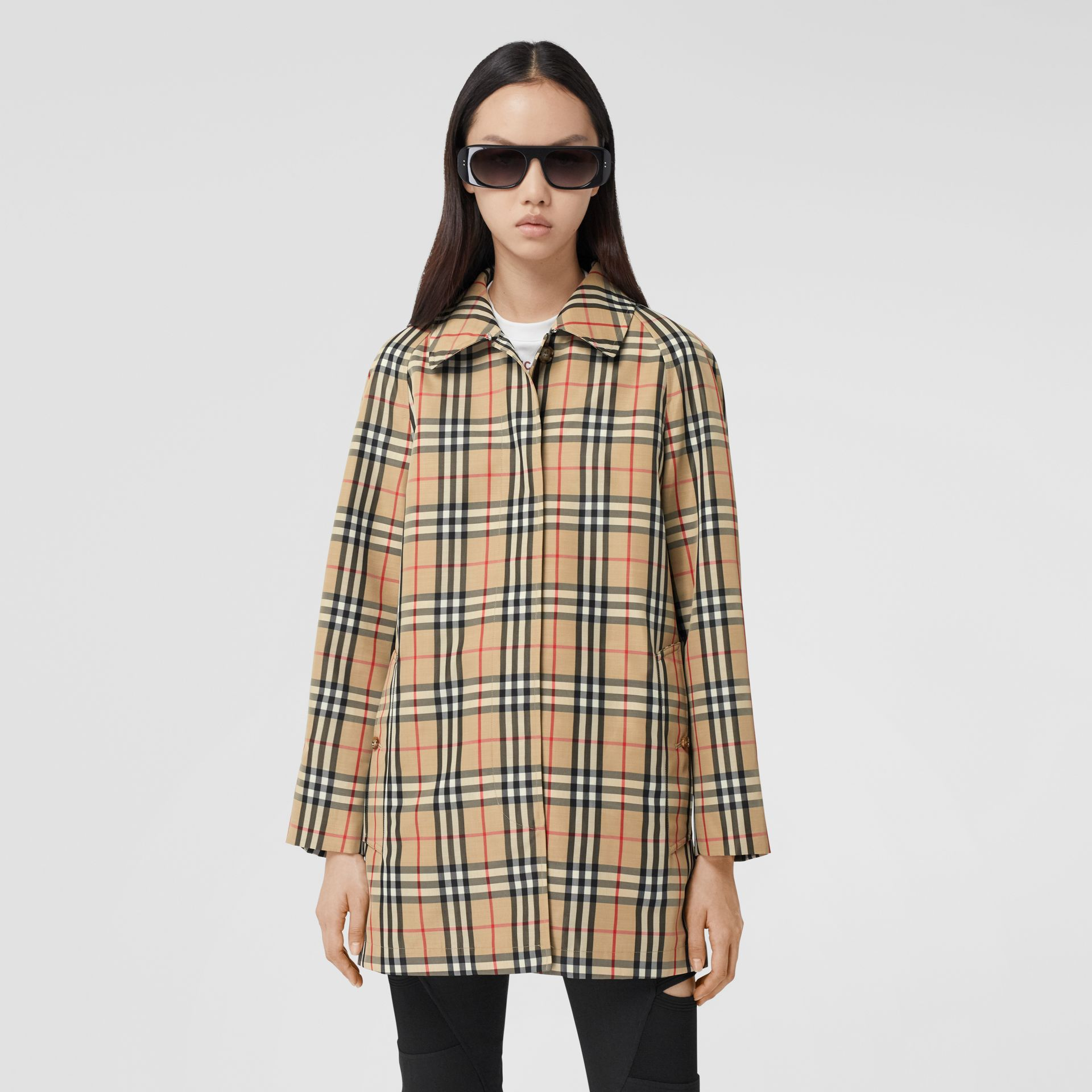 Vintage Check Recycled Polyester Car Coat in Archive Beige - Women | Burberry United States - gallery image 0