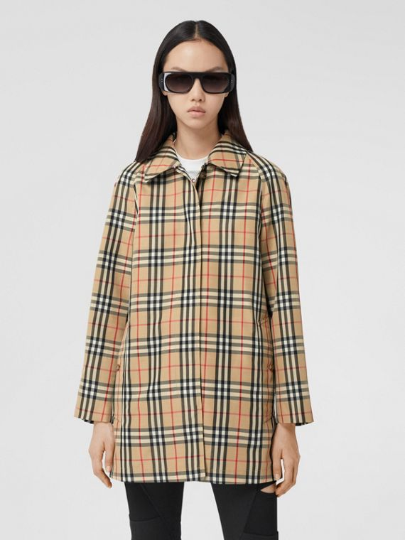 Vintage Check Recycled Polyester Car Coat in Archive Beige