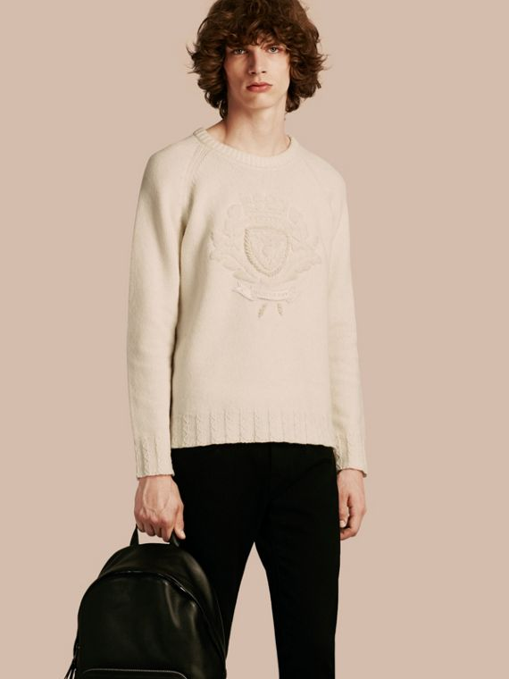 Embroidered Crest Wool Sweater
