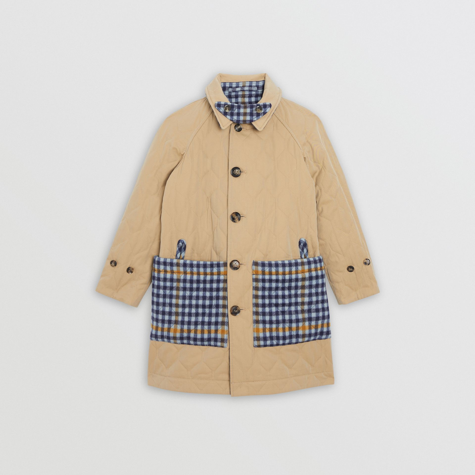 Reversible Check Wool and Cotton Car Coat in Canvas Blue | Burberry United States - gallery image 1
