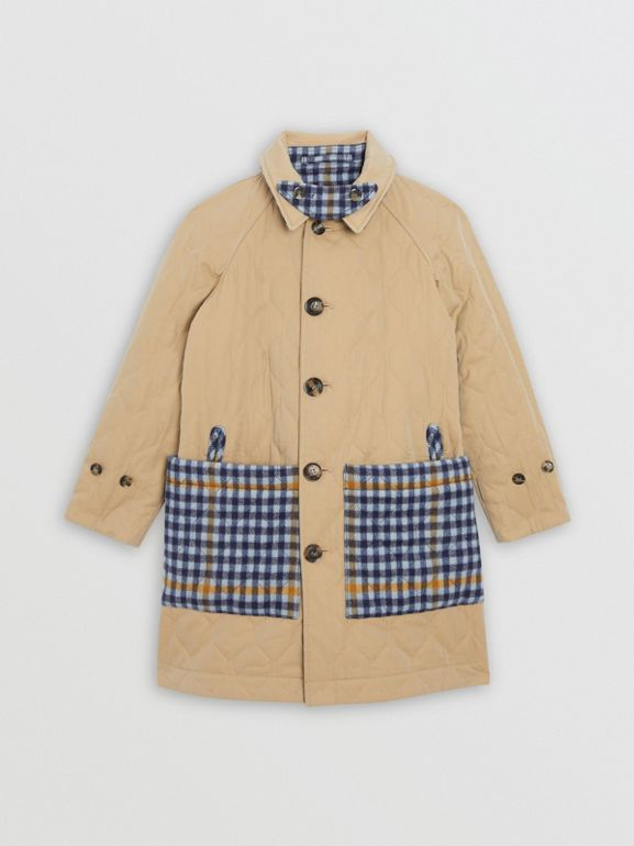 Reversible Check Wool and Cotton Car Coat in Canvas Blue | Burberry - cell image 1