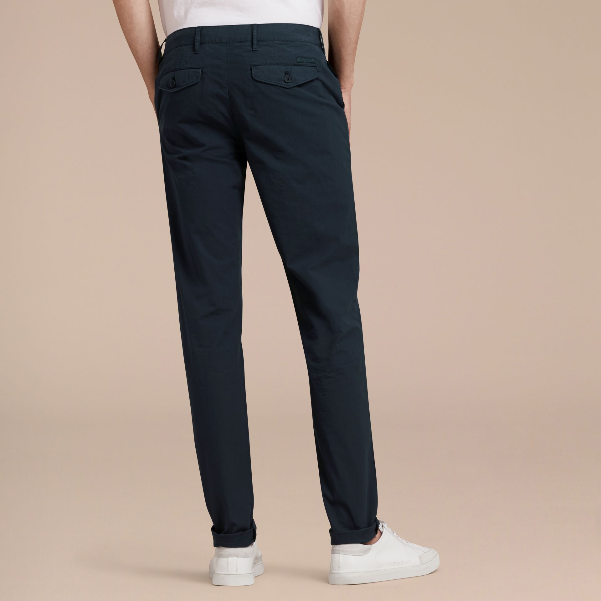 Slim Fit Cotton Poplin Chinos in Indigo - Men | Burberry - gallery image 2
