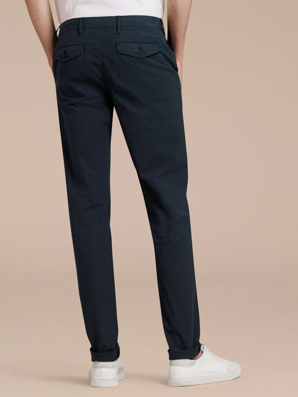 Slim Fit Cotton Poplin Chinos in Indigo - Men | Burberry United Kingdom - cell image 2