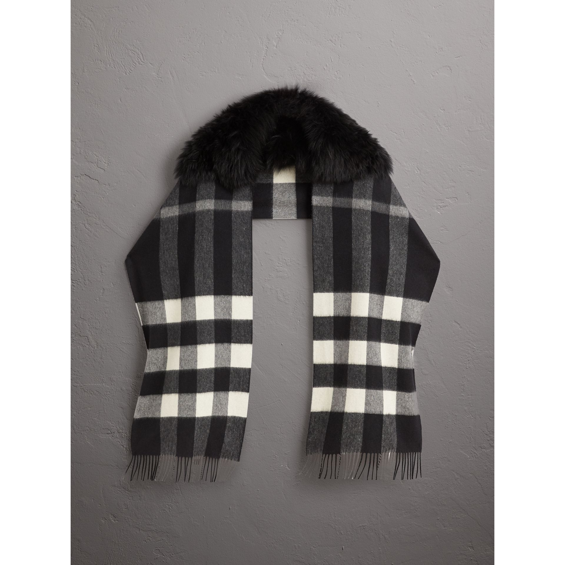 Fox Fur Trim Check Cashmere Scarf in Black/black - Women | Burberry - gallery image 1