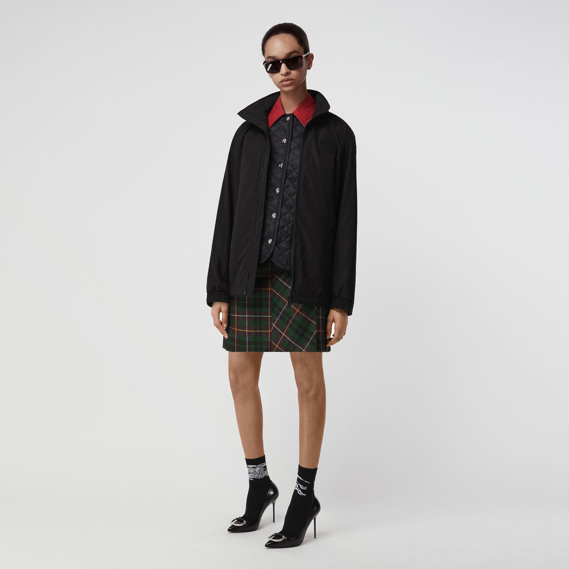 Tartan Wool Mini Kilt in Pine Green - Women | Burberry Canada - gallery image 0