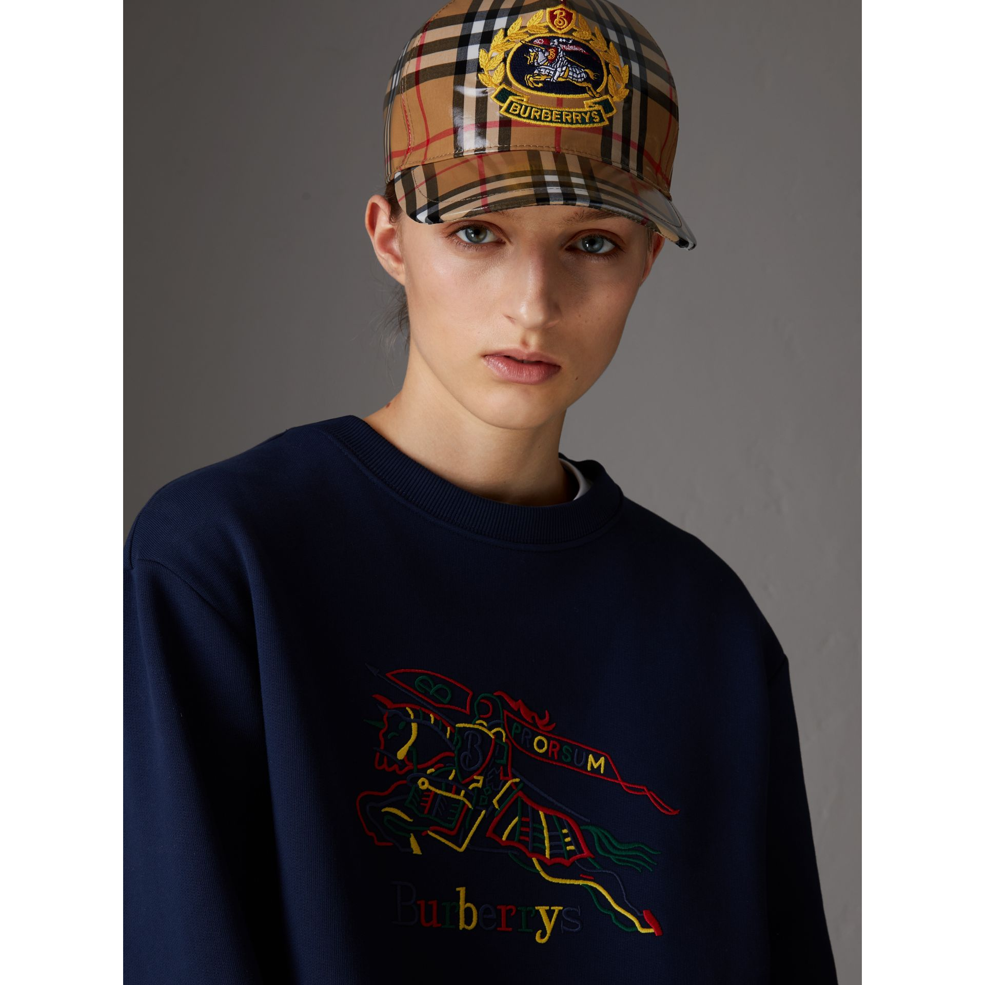 Archive Logo Coated Vintage Check Baseball Cap in Antique Yellow | Burberry Australia - gallery image 2