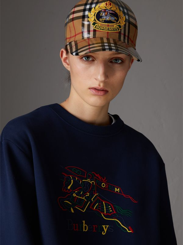 Archive Logo Coated Vintage Check Baseball Cap in Antique Yellow | Burberry Australia - cell image 2