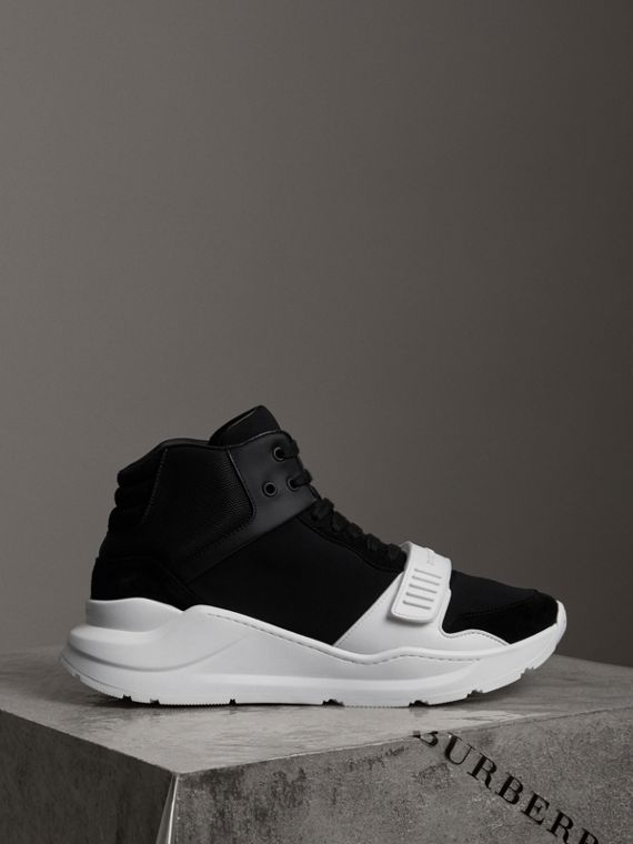 Suede and Neoprene High-top Sneakers in Black