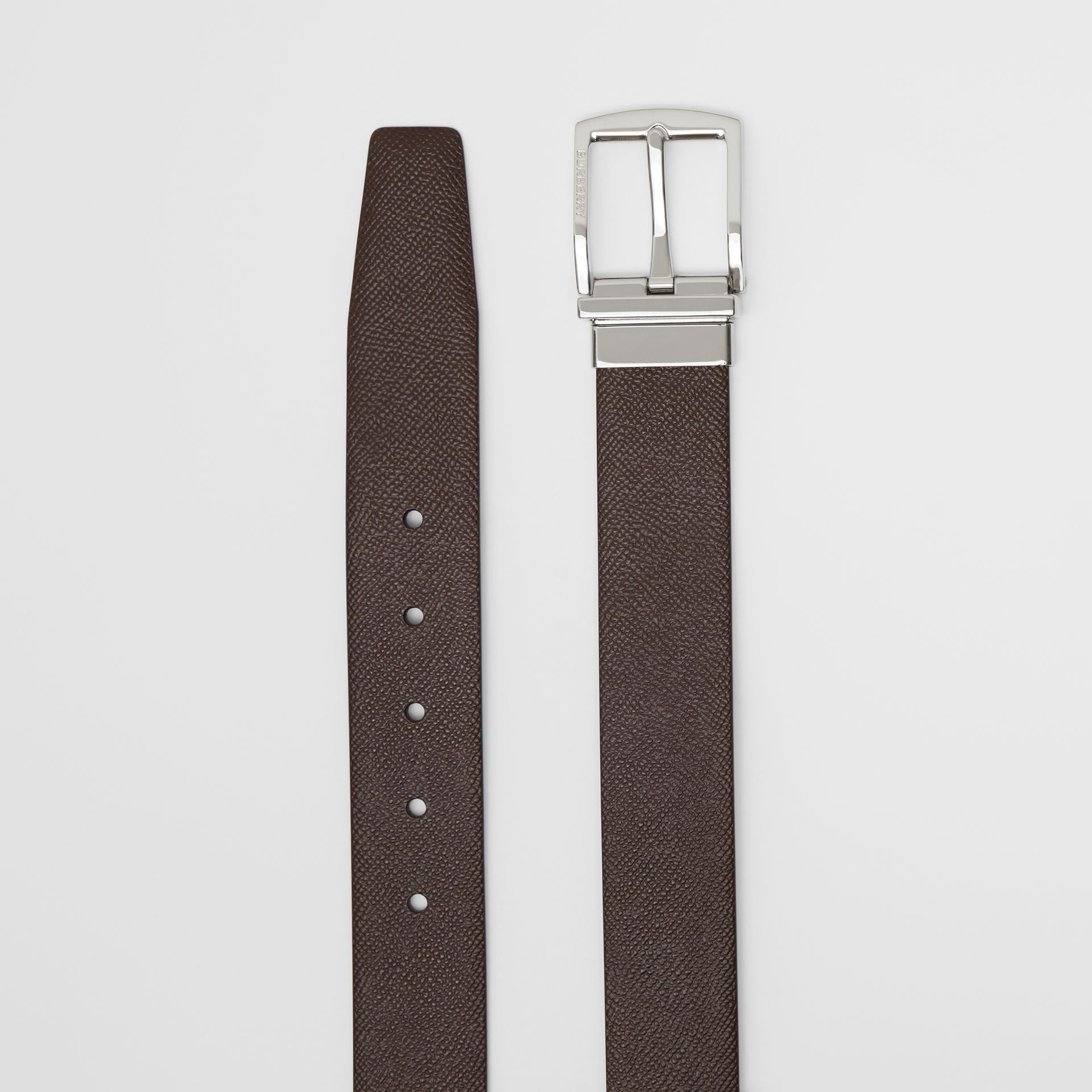 Reversible Grainy Leather Belt in Chocolate/black - Men | Burberry - gallery image 6