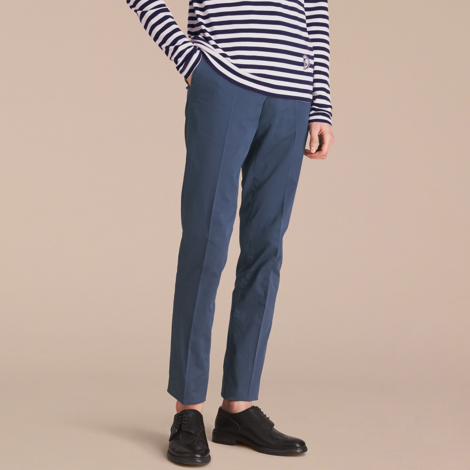 Slim Fit Stretch-Cotton Trousers - gallery image 6