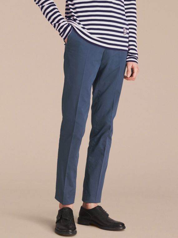 Pantaloni aderenti in cotone stretch Navy