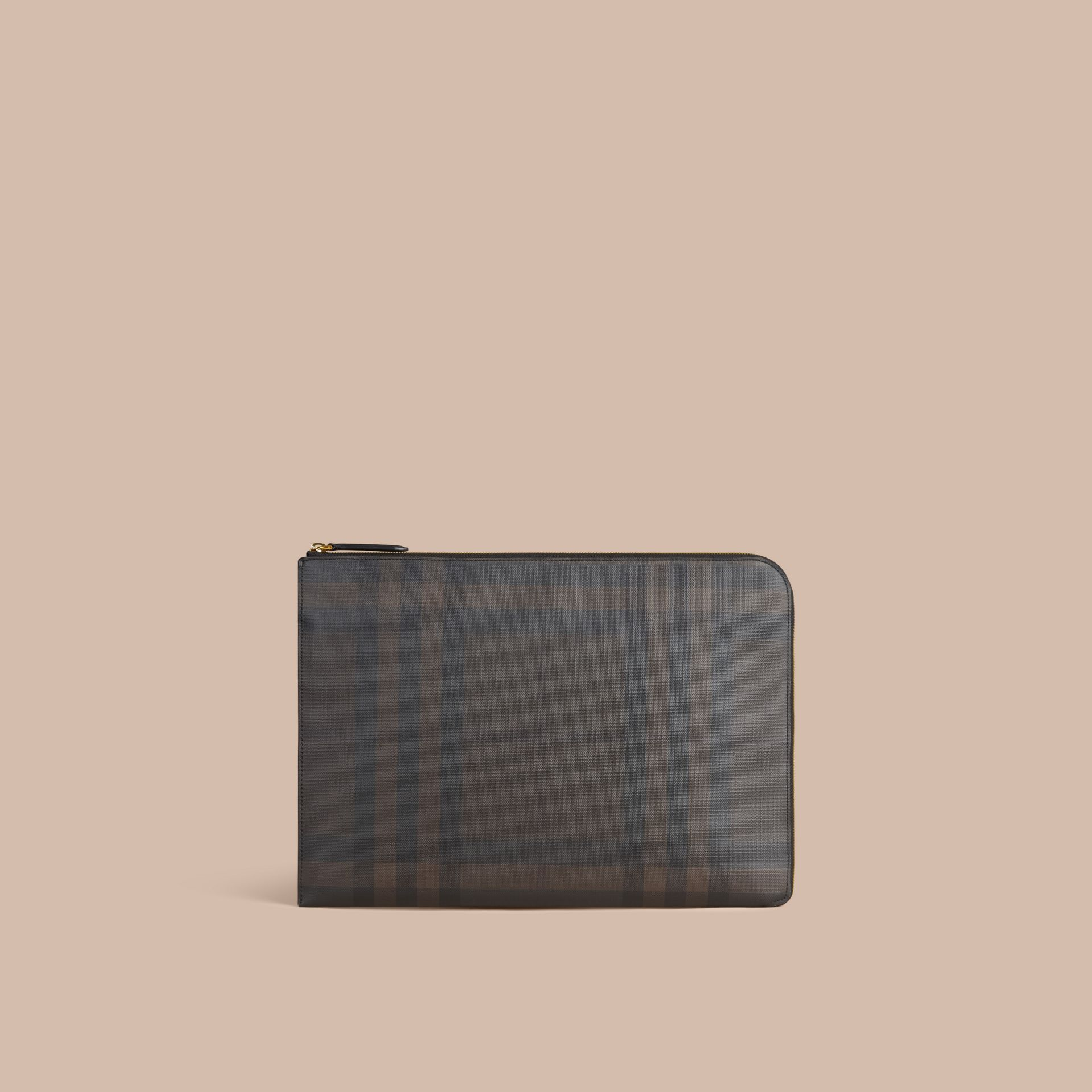 London Check Document Case in Black/chocolate - gallery image 3