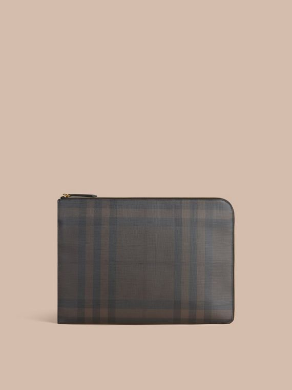 London Check Document Case in Black/chocolate - cell image 2