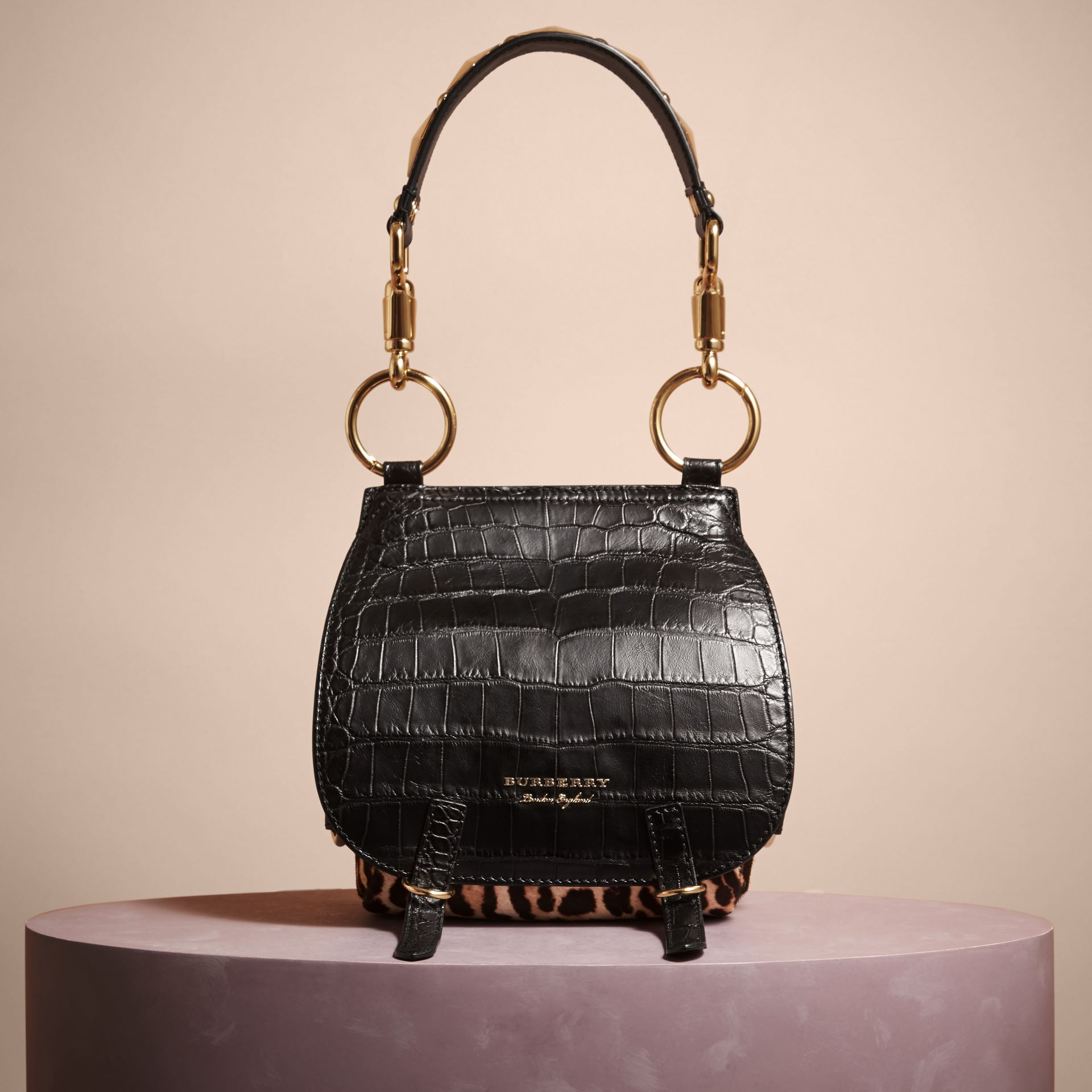 The Bridle Bag in Alligator and Calfskin in Black - Women | Burberry - gallery image 4