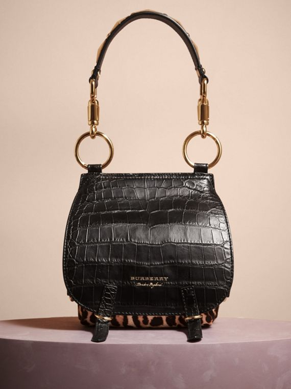The Bridle Bag in Alligator and Calfskin in Black - Women | Burberry - cell image 3