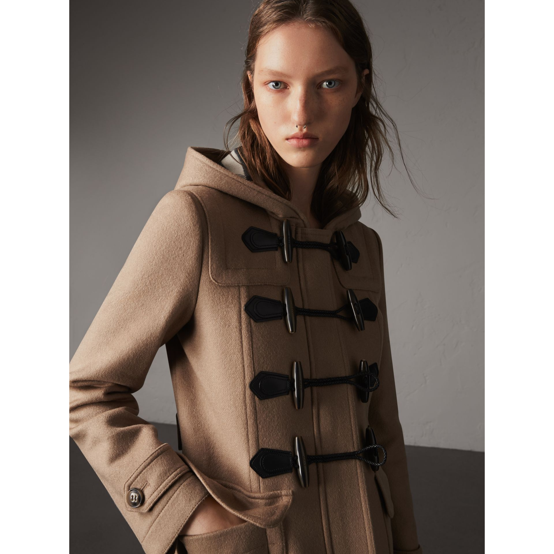 Fitted Wool Duffle Coat in New Camel - Women | Burberry Canada - gallery image 5