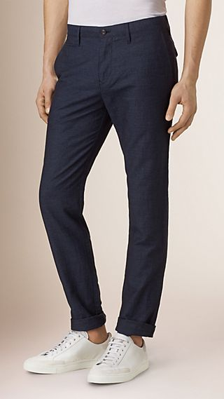 Slim Fit Linen Cotton Trousers