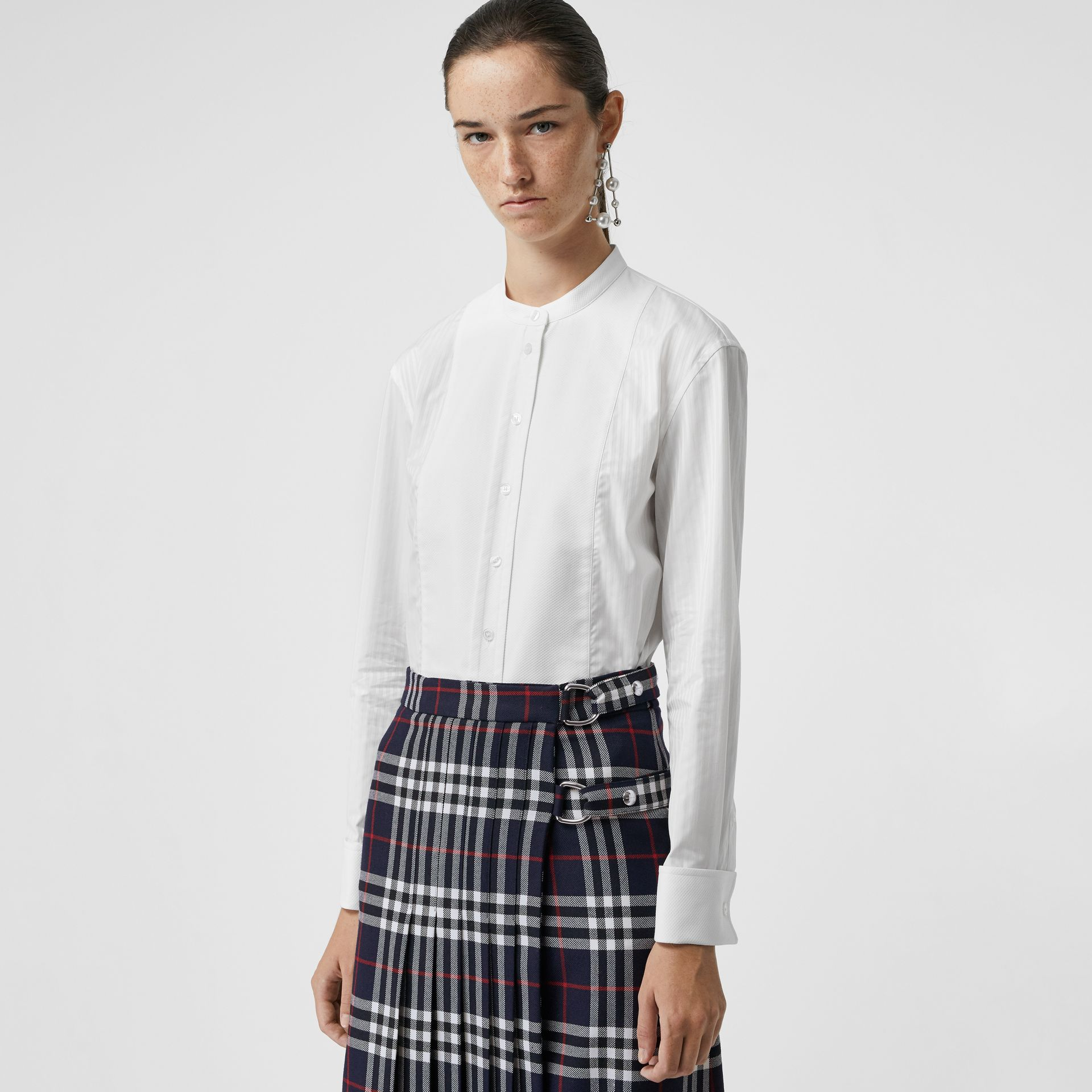 Slim Fit Panelled Bib Cotton Shirt in White - Women | Burberry - gallery image 0
