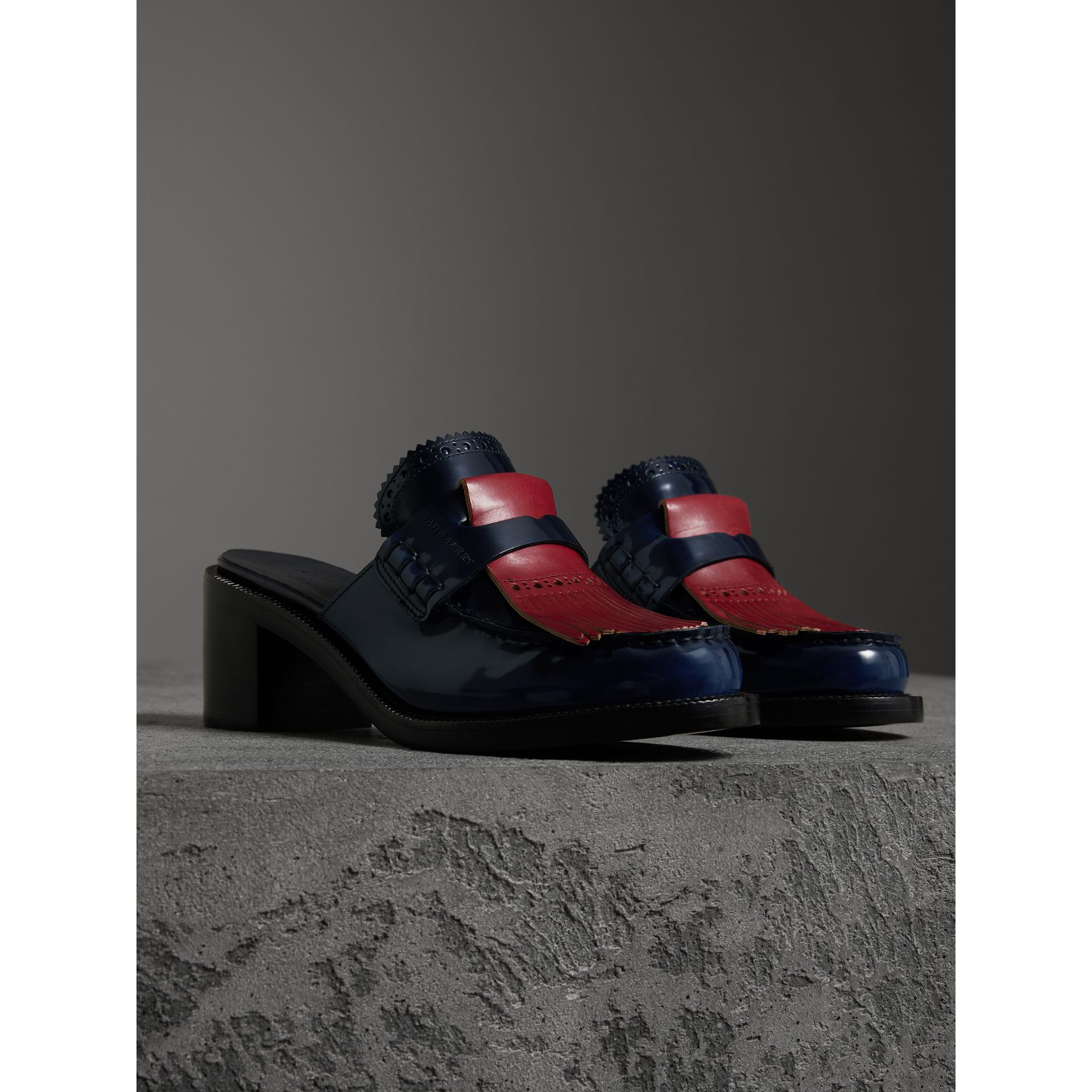 Contrast Kiltie Fringe Leather Block-heel Mules in Navy - Women | Burberry - gallery image 4