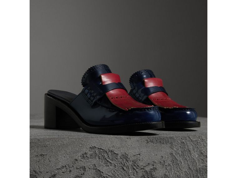Contrast Kiltie Fringe Leather Block-heel Mules in Navy - Women | Burberry - cell image 4