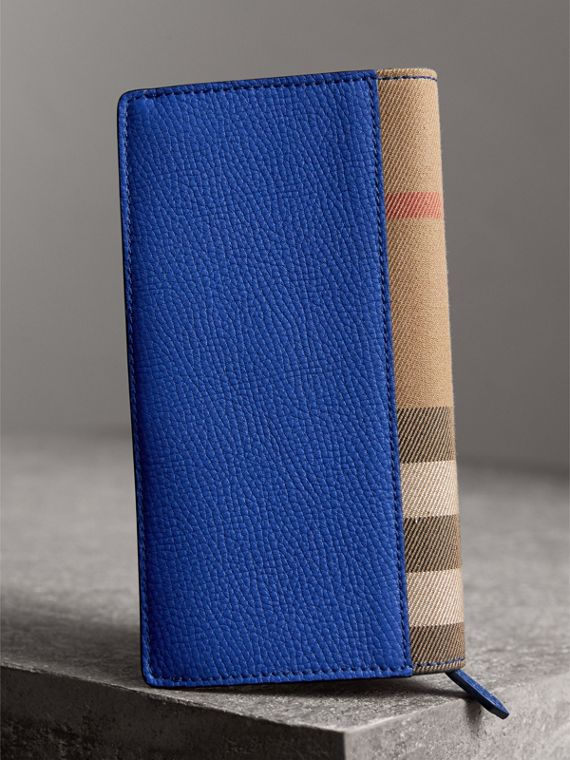 House Check and Grainy Leather Continental Wallet in Deep Blue - Men | Burberry Singapore - cell image 2
