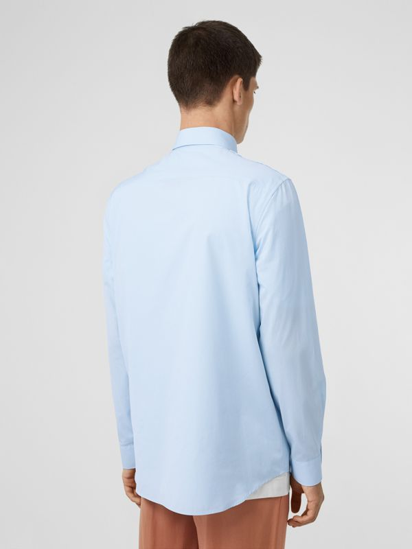 Logo Detail Military Cotton Shirt in Pale Blue - Men | Burberry Singapore - cell image 2