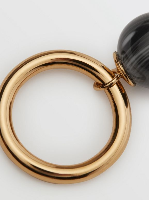 Marbled Resin Gold-plated Ring in Light Gold/midnight - Women | Burberry Singapore - cell image 1