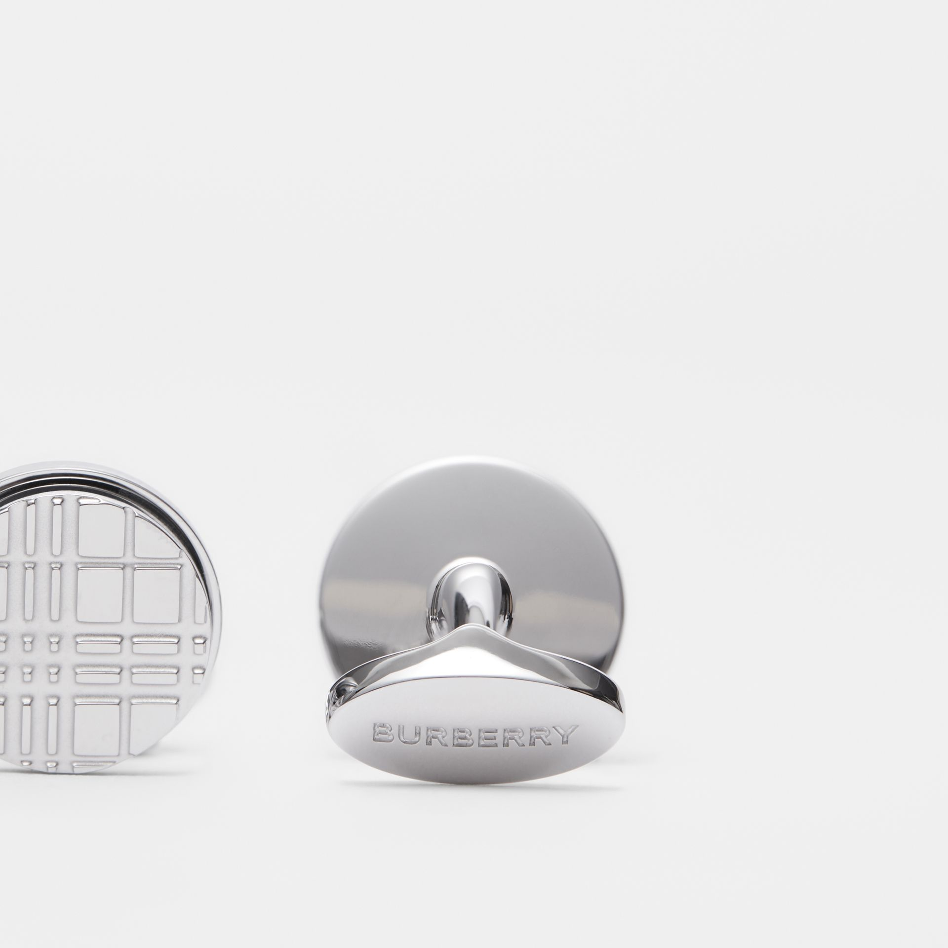 Palladium-plated Check-engraved Round Cufflinks in Silver - Men | Burberry - gallery image 1