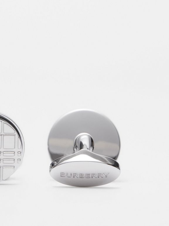 Palladium-plated Check-engraved Round Cufflinks in Silver - Men | Burberry - cell image 1