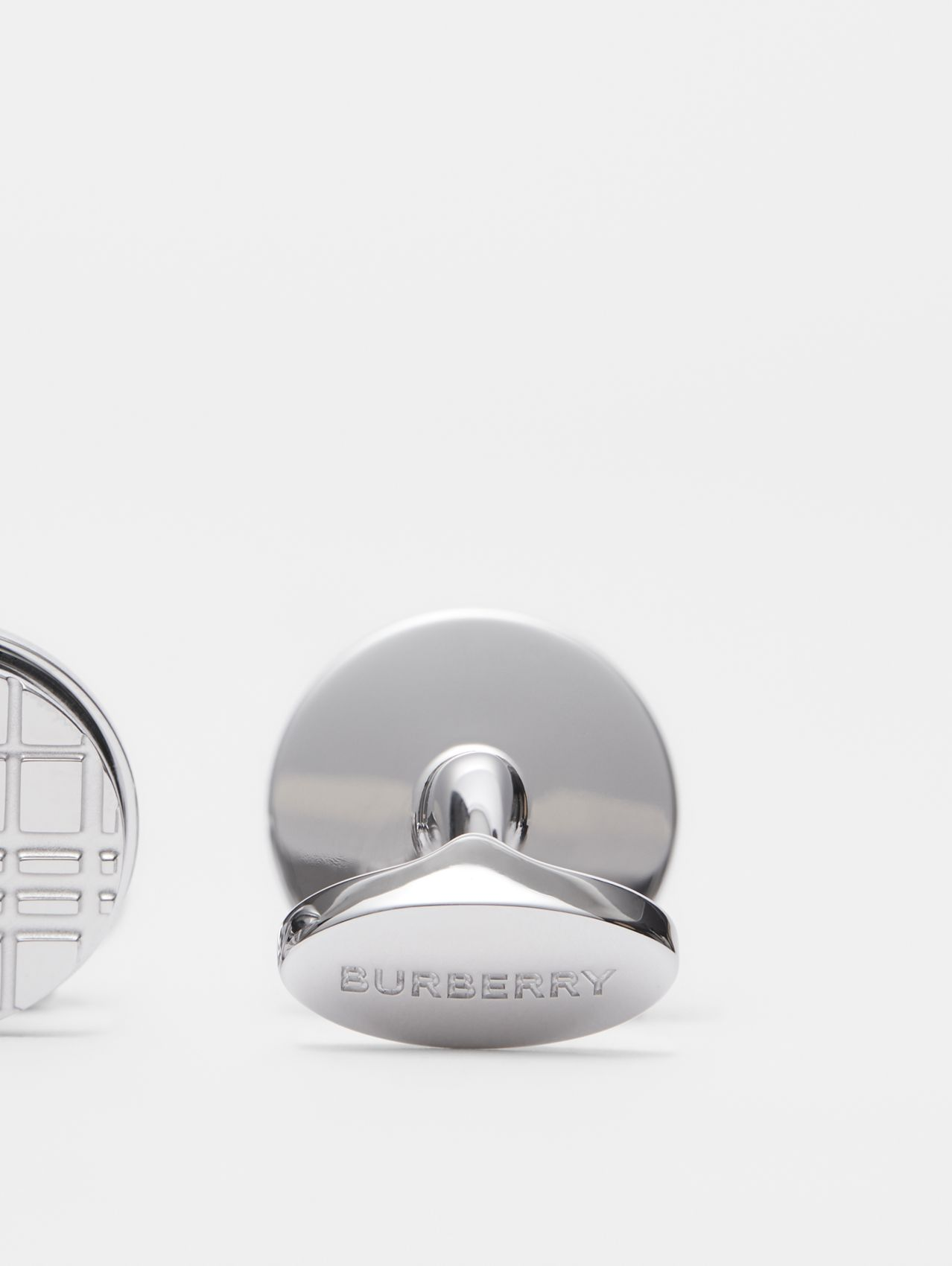 Palladium-plated Check-engraved Round Cufflinks in Silver