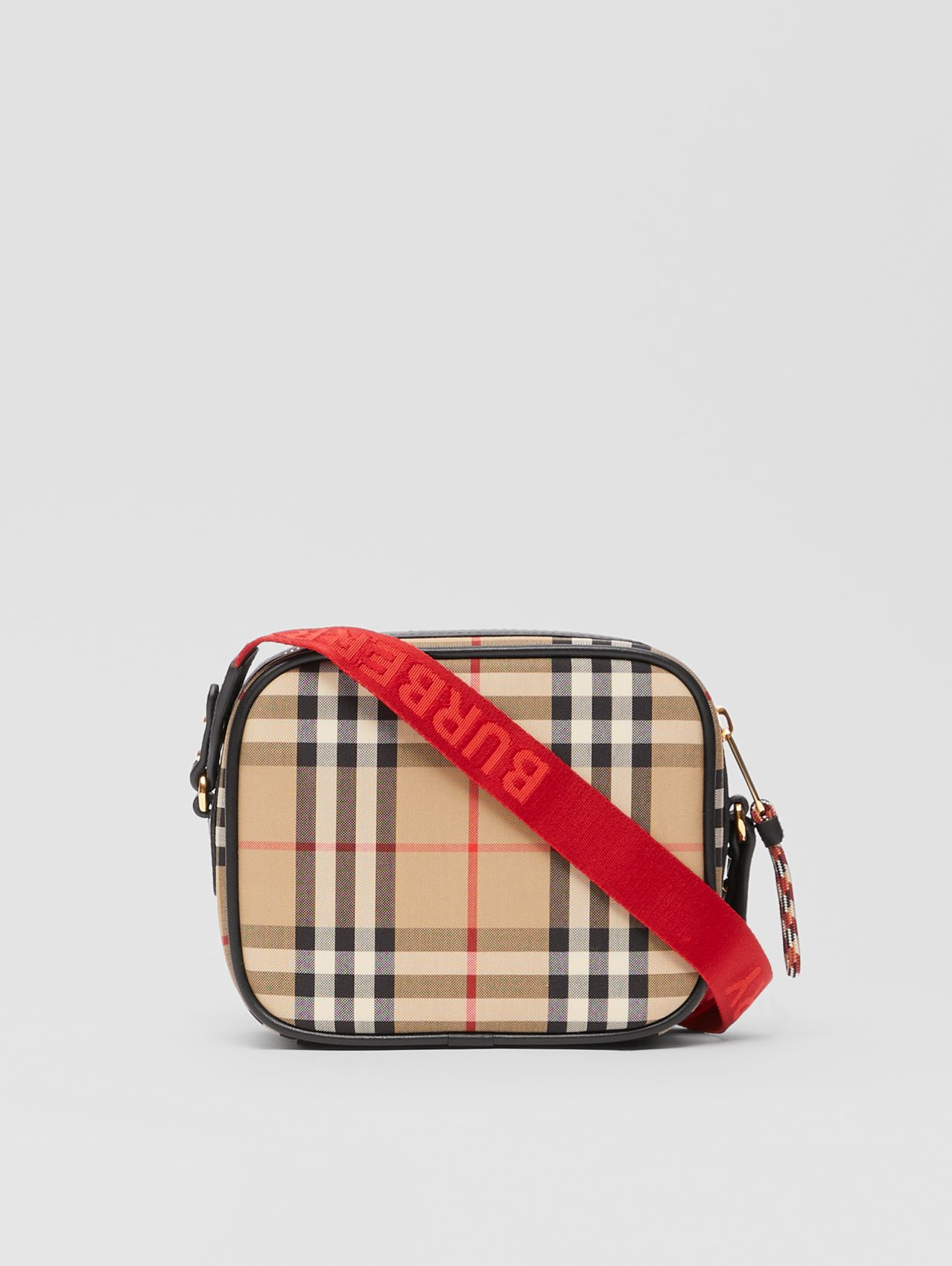 Logo Graphic Vintage Check Camera Bag in Archive Beige