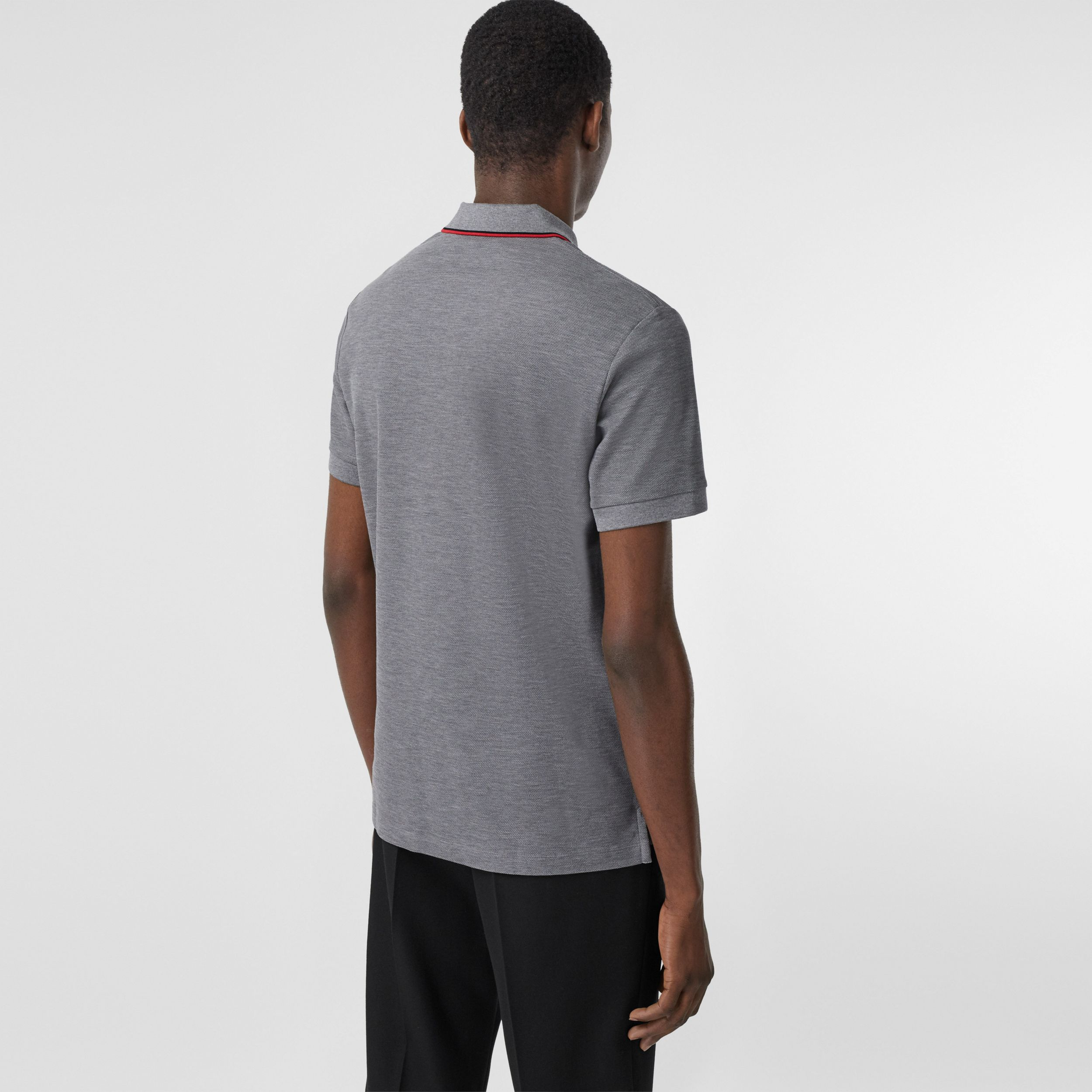 Monogram Motif Cotton Piqué Polo Shirt in Mid Grey Melange - Men | Burberry - 3