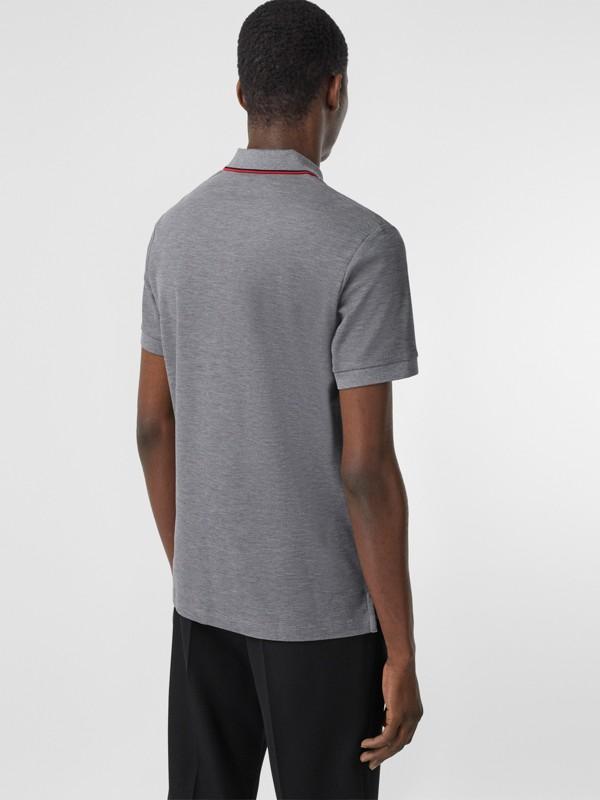 Monogram Motif Cotton Piqué Polo Shirt in Mid Grey Melange - Men | Burberry - cell image 2