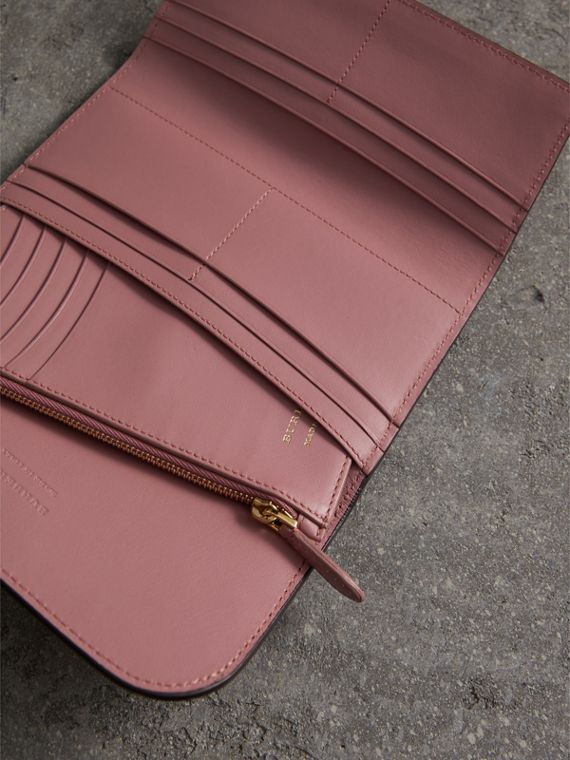 Leather Continental Wallet with Removable Coin Case in Dusty Pink - Women | Burberry - cell image 3